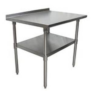 BK Resources 36x24 Work Prep Table Stainless Top w/ 1.5in Backsplash NSF - VTTR-3624