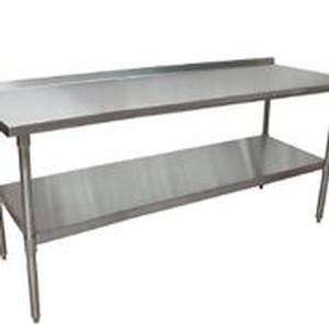 BK Resources VTTR-7230 72x30 Work Prep Table Stainless Top w/ 1.5in Backsplash NSF