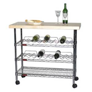 Eagle Group Mobile Kitchen Wine Cart Bar w/ Maple Butcher Block Top - WR1840C