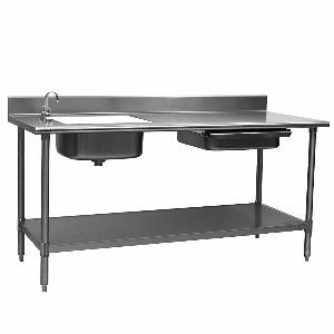 Eagle Group PT3072 Spec-Master 72 Stainless Prep Table w/ Sink & Drawer