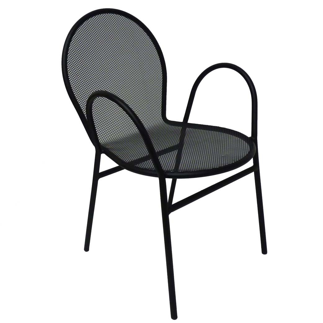 All about furniture om110 black mesh outdoor steel for Mesh patio chairs