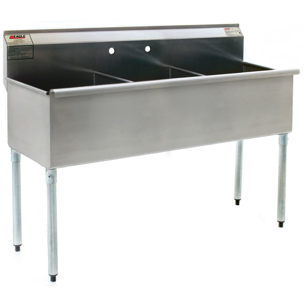 ... 2136-3-16/4-1X Stainless Steel Utility Sink 12in x 21in 3 Compartment