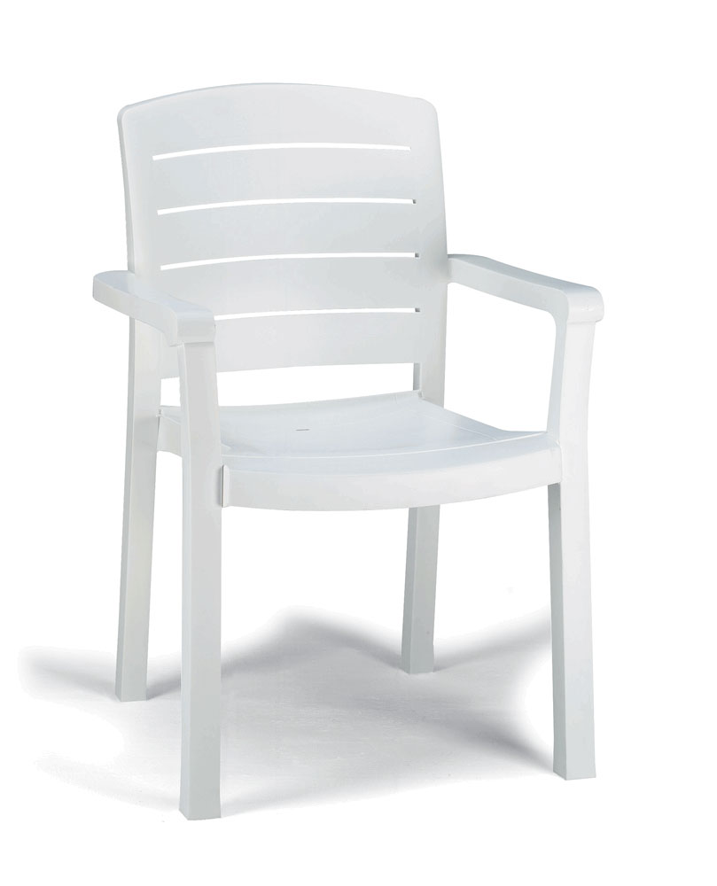 Grosfillex 4ea Grosfillex Acadia White Patio Furniture Stack Chairs