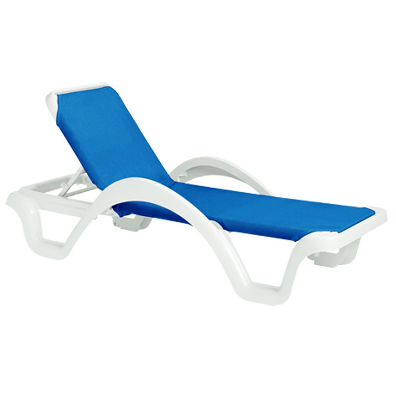 Grosfillex 2ea catalina blue adjust sling chaise lounge white frame - Grosfillex chaise longue ...
