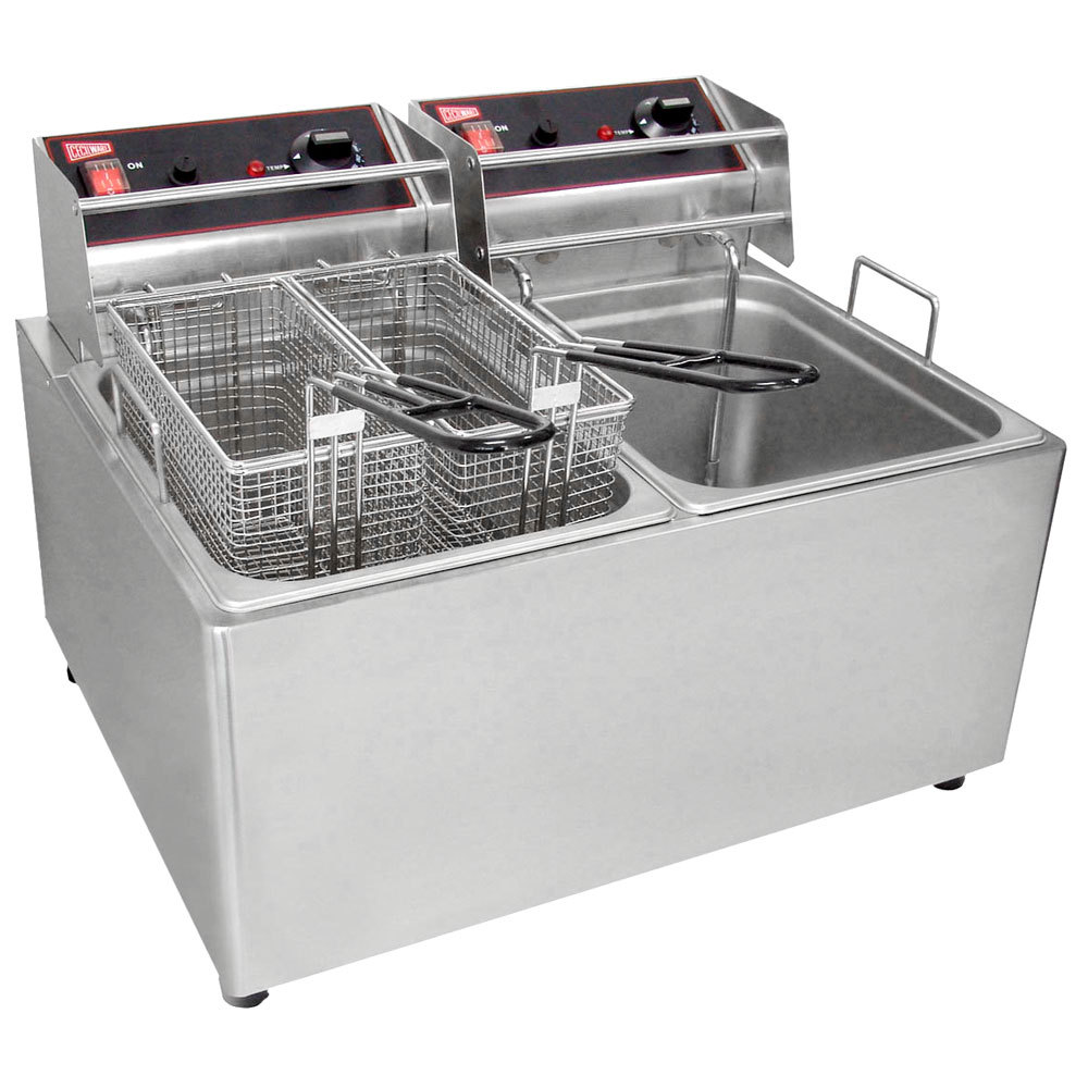 Gmcw el2x25 electric deep fryer counter top w two 15lb for Kitchen 0 finance deals